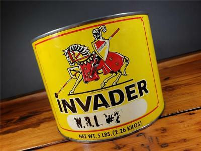 Vintage INVADER 5 LB. GREASE CAN PHILLY, PA EMPTY METAL MOTOR OIL sign