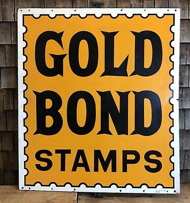 HUGE Vintage 50s GOLD BOND STAMPS Country Store Gas Station Metal Sign 50x42