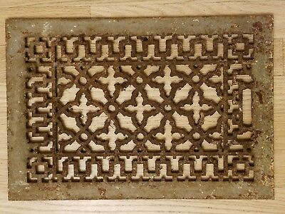 Antique Cast Iron Heat Grate Floor Vent Register Cover 9x14 11x16 Victorian Old