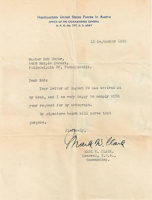 General Mark W. Clark WWII Hand Signed Letter-Rare