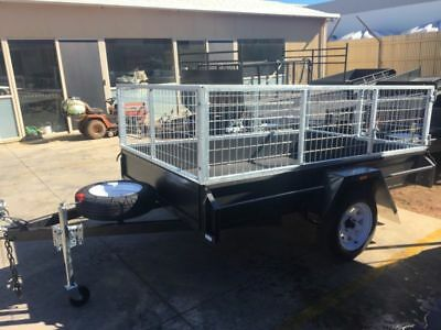 7x4 heavy duty deluxe single axle box trailer | 2ft gal cage | swan hill | new