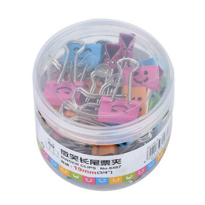 40 Pcs Smile Metal Clip Cute Binder Clips Album Paper Clips Stationary Office GM