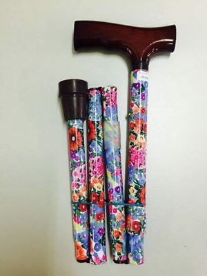 Redgum Folding Walking Stick / Cane, Height Adjustable, FLORAL PATTERNS