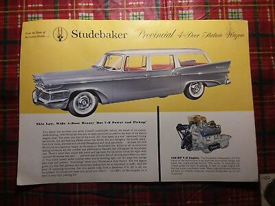 Original 1958 Vintage Dealer's Studebacher Provincial Wagon Color Advertisement