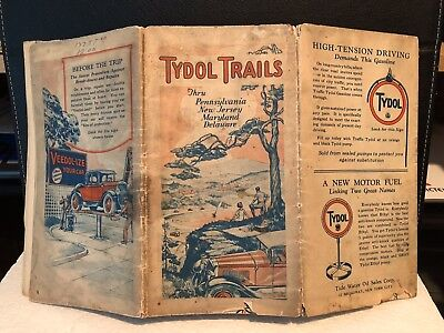 1920s Tydol Trails Gas Station Road Map of New Jersey Pennsylvania Maryland