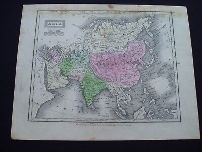 1829 Robinson Map Asia Middle East China Indonesia India Russia Genuine Antique