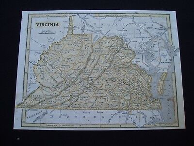 1844 Morse Map Virginia and West Virginia Genuine Antique