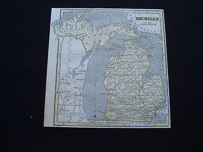 1844 Morse Map Michigan Genuine Antique