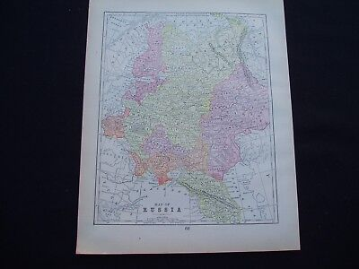 1892 Popular Atlas Map German and Russia Empire Prussia Europe Antique