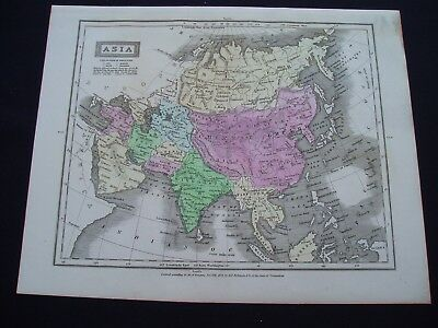 1829 Robinson Map Asia Middle East Indonesia China India Rare Genuine Antique