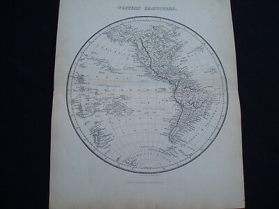 1846 Findlay Map Western Hemisphere United States Texas Genuine Antique