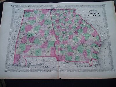 1863 Johnson Atlas Map Georgia and Alabama Genuine Antique