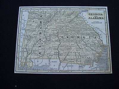 1844 Morse Map Alabama and Georgia Genuine Antique