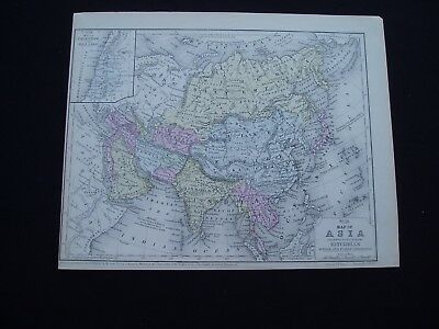 1858 Mitchell Atlas Map Asia Middle East Indonesia China India Genuine Antique