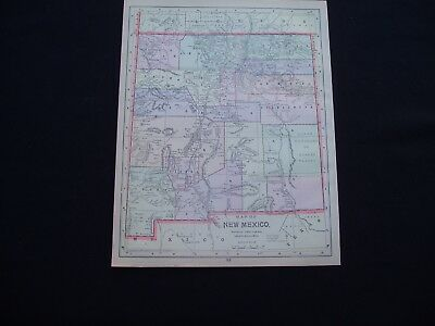 1892 Popular Atlas Map New Mexico and Oklahoma Indian Territory Antique