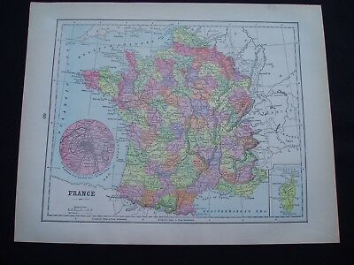 1892 Popular Atlas Map Scotland and France Europe Antique