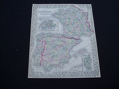 1872 Mitchell Atlas Map France Spain Europe Genuine Antique