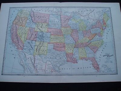 1883 Cram Atlas Map United States Genuine Antique