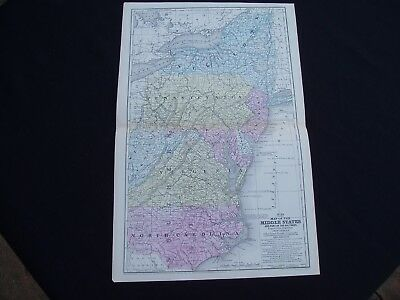1858 Mitchell Atlas Map United States Atlantic Middle States Genuine Antique