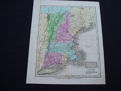 1829 Robinson Map New England States United States Rare Genuine Antique