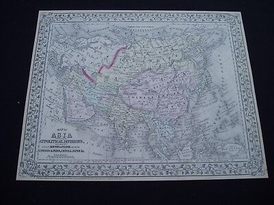 1872 Mitchell Atlas Map Asia Middle East Indonesia Genuine Antique