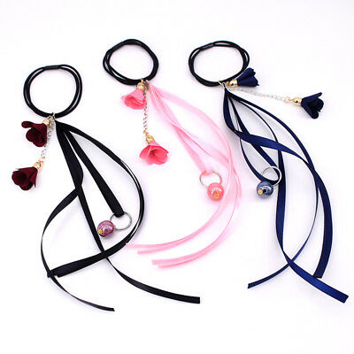 Ladies Elastic Long Ribbon Bow Knot Hair Band Rope Ponytail Holder Scrunchies