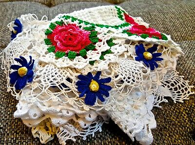 Vintage LOT Doilies Runners BEAUTIFUL Pristine Hand Crocheted MINT Condition