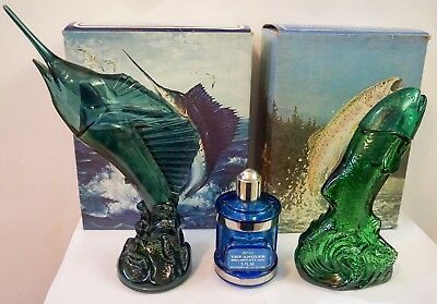 Lot 3 Fishing Vtg Avon After Shave Decanter Rainbow Trout Swordfish Angler Glass