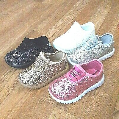 Youth Kids Girls Sneakers Glitter Tennis Shoes Size 11-4