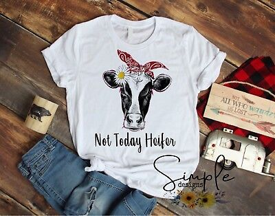 8021d08cb Not Today Heifer T-shirt, Cow With Bandana Shirt, Barnyard, Farm Cow