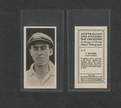 e3003)    1928 AUSTRALIA & ENGLISH TEST CRICKETERS CIG.CARD #25 V. RICHARDSON SA
