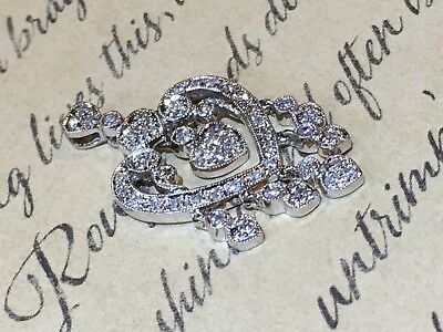 14K Solid White Gold vintage Design Heart Pendent & diamonds