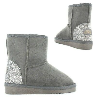 Girls Ella Glitter Heel faux suede Boots with faux fur lining  size 6 infants