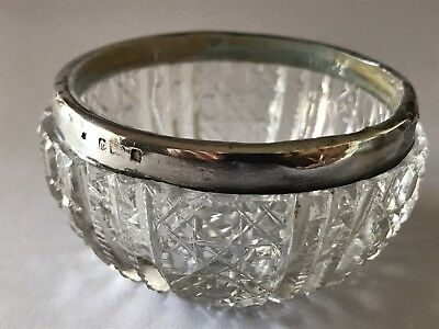 Small Crystal And Hallmarked Silver Salt Mustard Dish