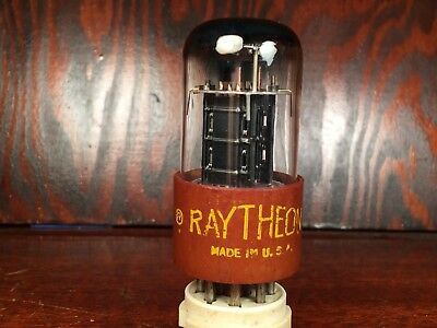 Raytheon 6SN7W 6SN7WGT  Top D Getter Black Plates  Vacuum Tube RARE !!