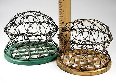 "Antique Metal Wire Dome Flower Frogs 1930s patent 4 3/4"", 5 1/4"" bases Vtg"