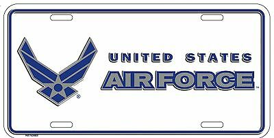 """White USAF US Air Force white Wings Insignia 6""""x12"""" Aluminum License Plate Tag"""