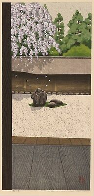 en0850cybSw12 Japanese framed woodblock print Ido Masao Rock Garden in Spring