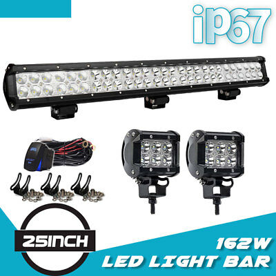 """25in 162W Led Light Bar Spot Flood Combo For Offroad JEEP Truck ATV Pickup 24"""""""