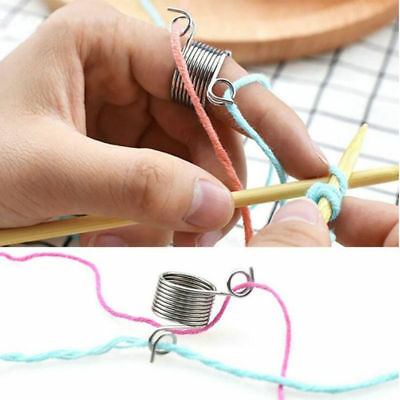 1PC Metal Braided Knitting Ring Tools Finger Thimble Yarn Needle Guide Sewing
