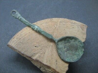 Ancient Medieval Bronze Amulet Spoon 9-12 Century