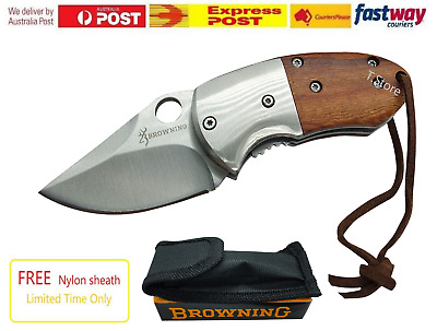 Browning Stainless Steel Wood SMALL Knife Tactical Hunting Pocket Knife Camping
