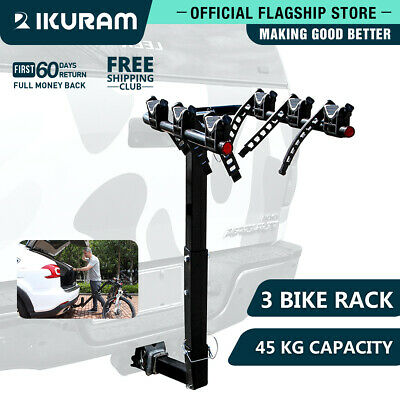 "IKURAM 3 Bike Bicycle Carrier Rack Car Rear 2"" Hitch Mount TowBar Steel Foldable"