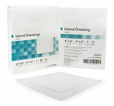 """100 Pack of Adhesive Dressings 6"""" x 6"""". Island Dressing for General Wound Care."""