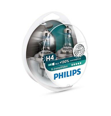 NEW Philips X-treme Vision +130% H4 Headlight Bulbs Twin Pack 12342XV+S2 1650 lm
