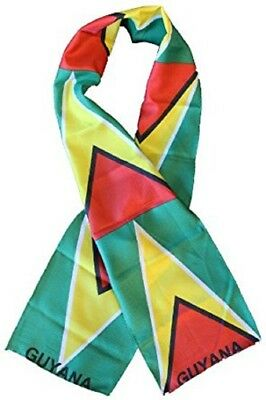 "Guyana Country Lightweight Flag Printed Knitted Style Scarf 8""x60"""