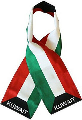 "Kuwait Country Lightweight Flag Printed Knitted Style Scarf 8""x60"""