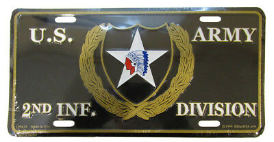 """U.S. Army 2nd Infantry Division Black 6""""x12"""" Aluminum License Plate Made USA"""