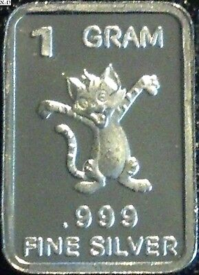 1 Gram .999 Fine Pure Solid Silver Bullion (Uncirculated) Mini Art-bar Kitty-Cat