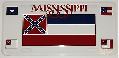 """Mississippi Stars & Bars Bonnie Blue Southern National 6""""x12"""" License Plate Sign"""